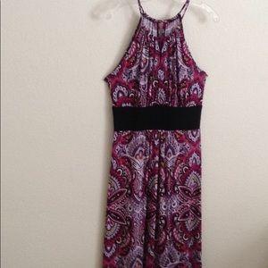 London Times Woman Size 10 Purple Print Maxi Dress